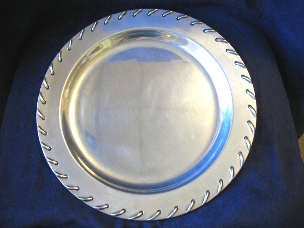 "Vintage Wilton Armetale Pewter Tray Large 14"" Rope Stitch Laced Edge"