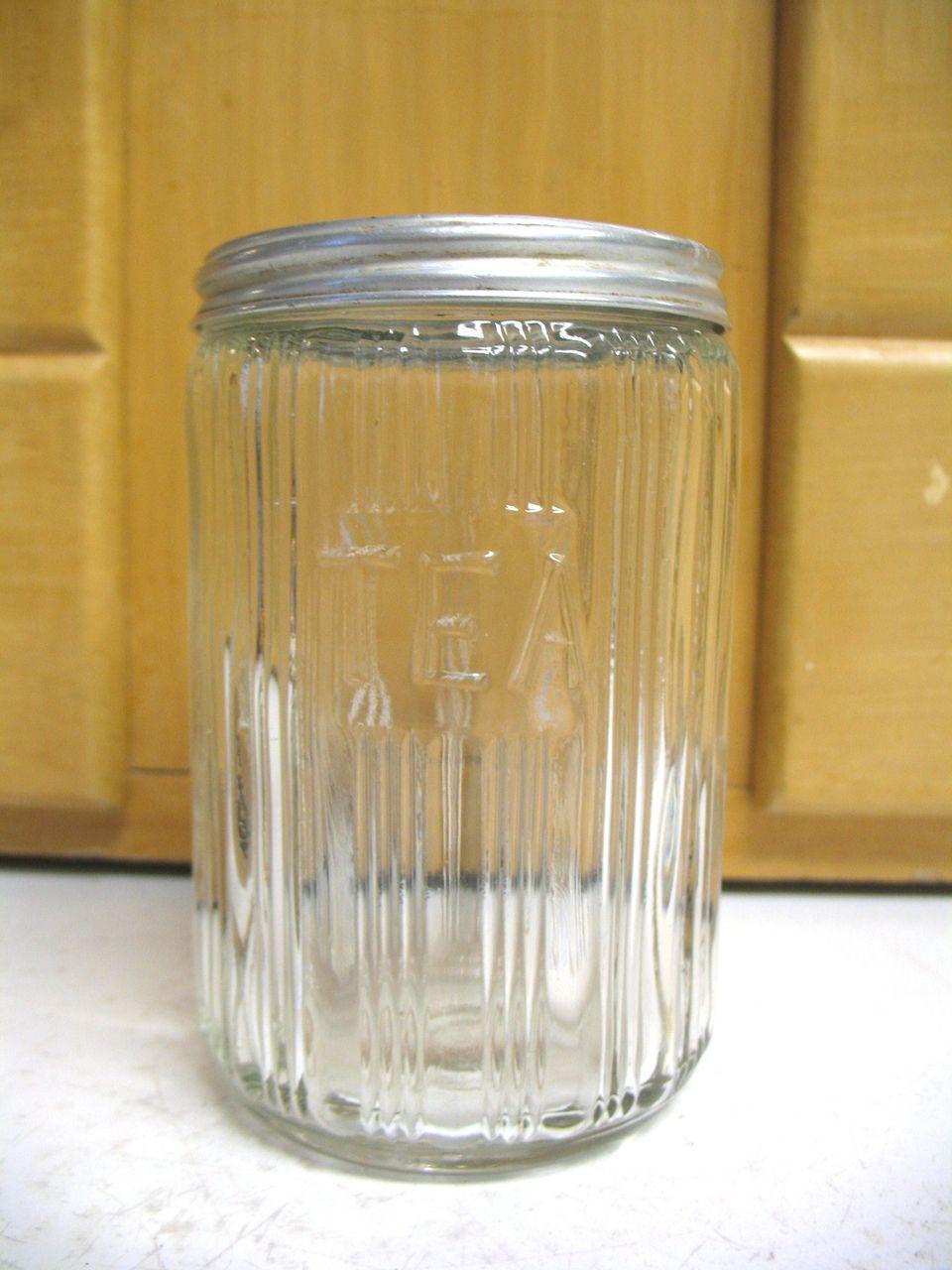 Vintage Old Sellers Hoosier TEA Jar Canister Ribbed Triple Skip