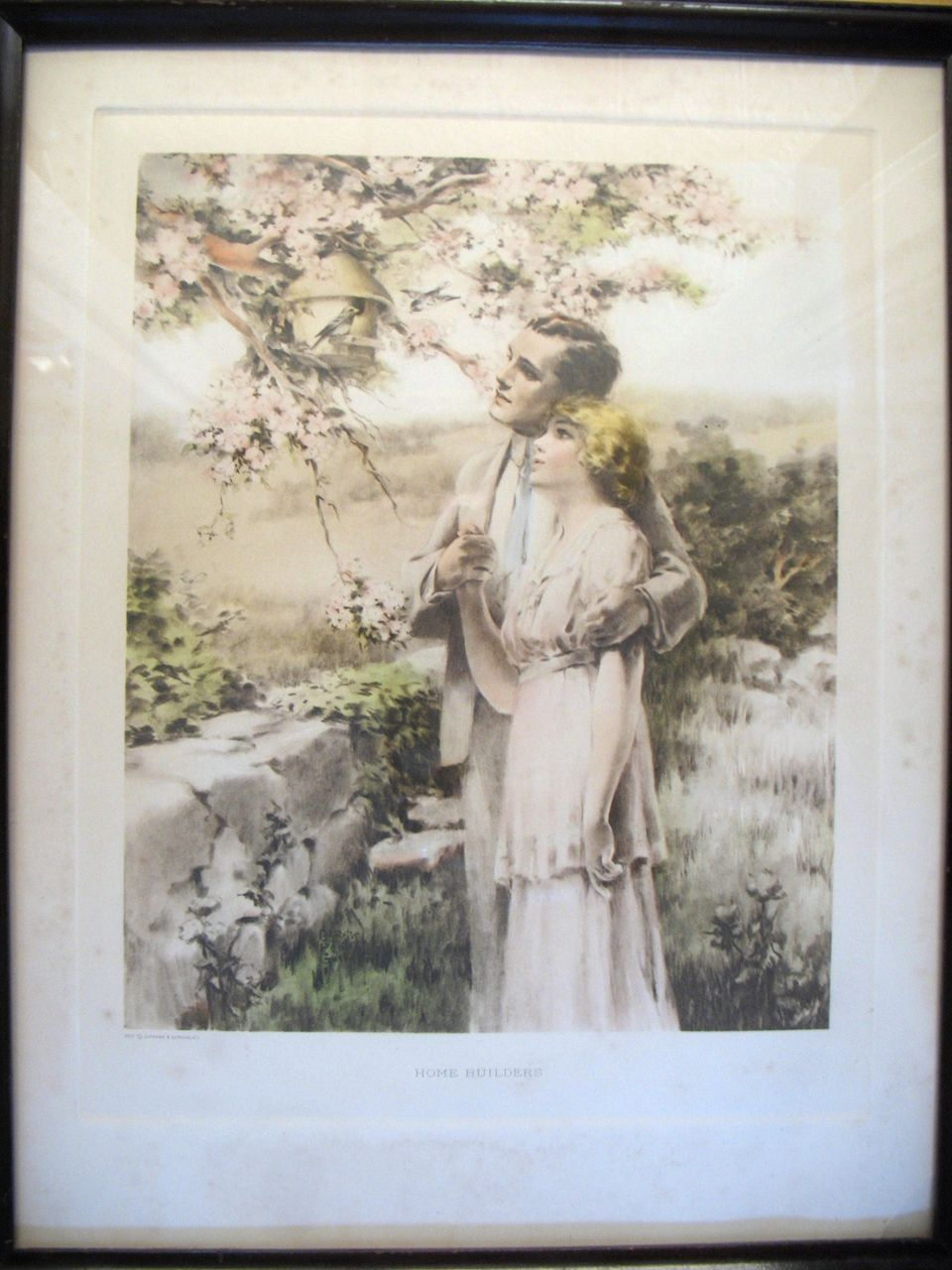 "Original Vintage 1920's Bessie Pease Gutmann ""Home Builders"" Print Framed Young Couple # 655"