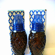 Pair Vintage Cobalt Blue Glass Avon Cotillion Cologne Filled Salt Shakers Crystalpoint