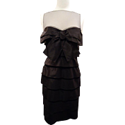 Robert Rodriquez Black Silk and Net Cocktail Dress