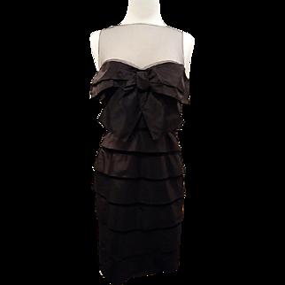 Robert Rodriquez Black Silk and Net Cocktail Dress