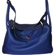 "HERMES Lindy Bag 34 cm ""Blue Jean"""