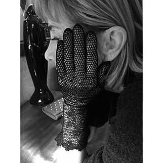 Vintage Black Crochet Gloves