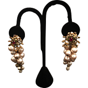 Miriam Haskell Simulated Pearl Drop Earrings
