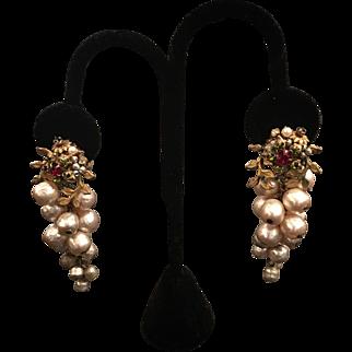 Miriam Haskell Simulated Pearl Drop Earrings