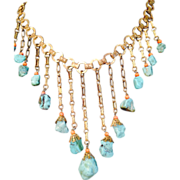 Vintage Turquoise and Coral bib necklace
