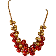 Bohemian Orange Glass Bead Cluster Necklace
