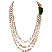 Pearl Necklace with Geometric Green Stone
