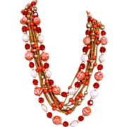 Pink and Orange Multi-Stone Haskell like Necklace