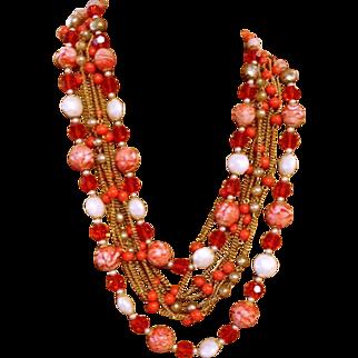 Pink and Orange Multi-Stone Haskell like Necklace