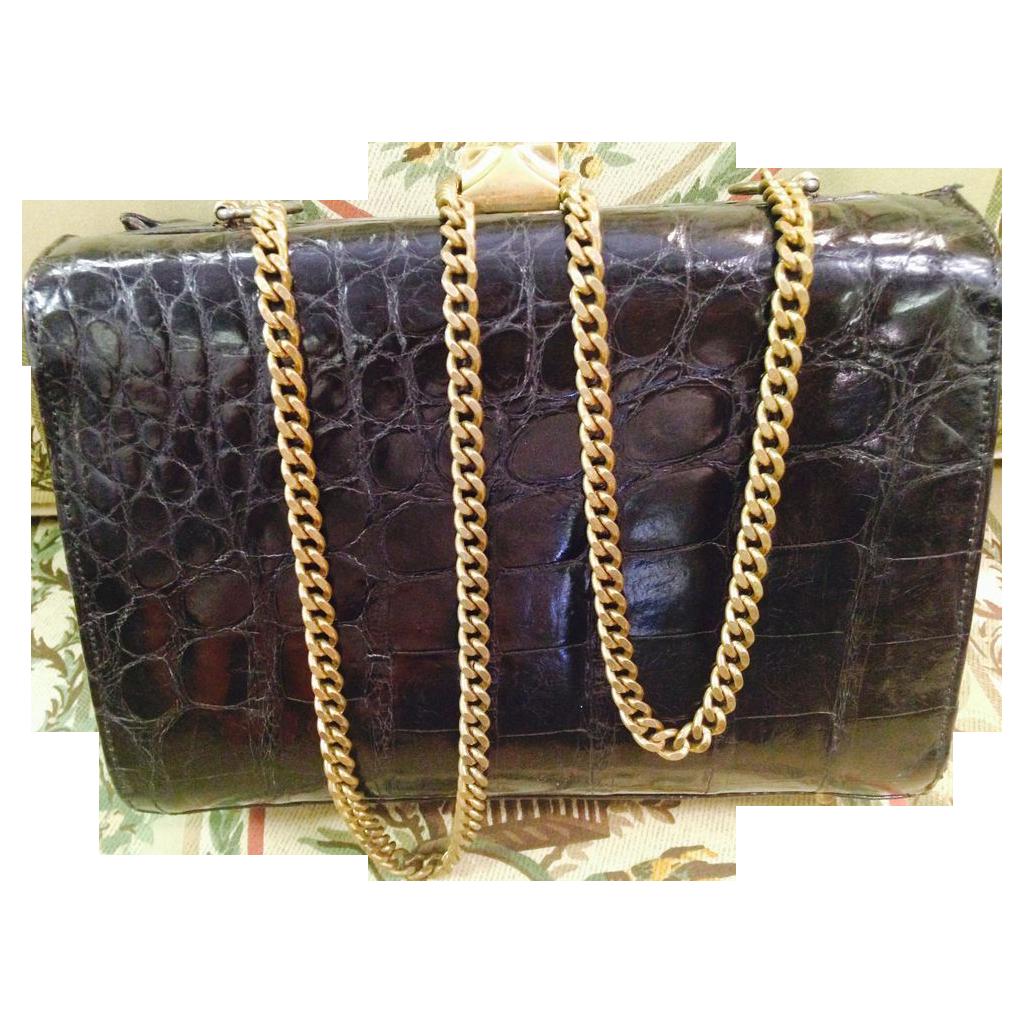 Vintage Genuine Alligator black purse