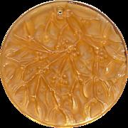 1991 Noel Lalique Mistletoe Amber Christmas Ornament