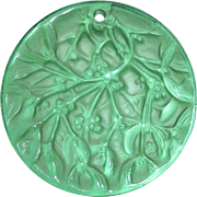 Noel 1990 Green Lalique Mistletoe Christmas Ornament