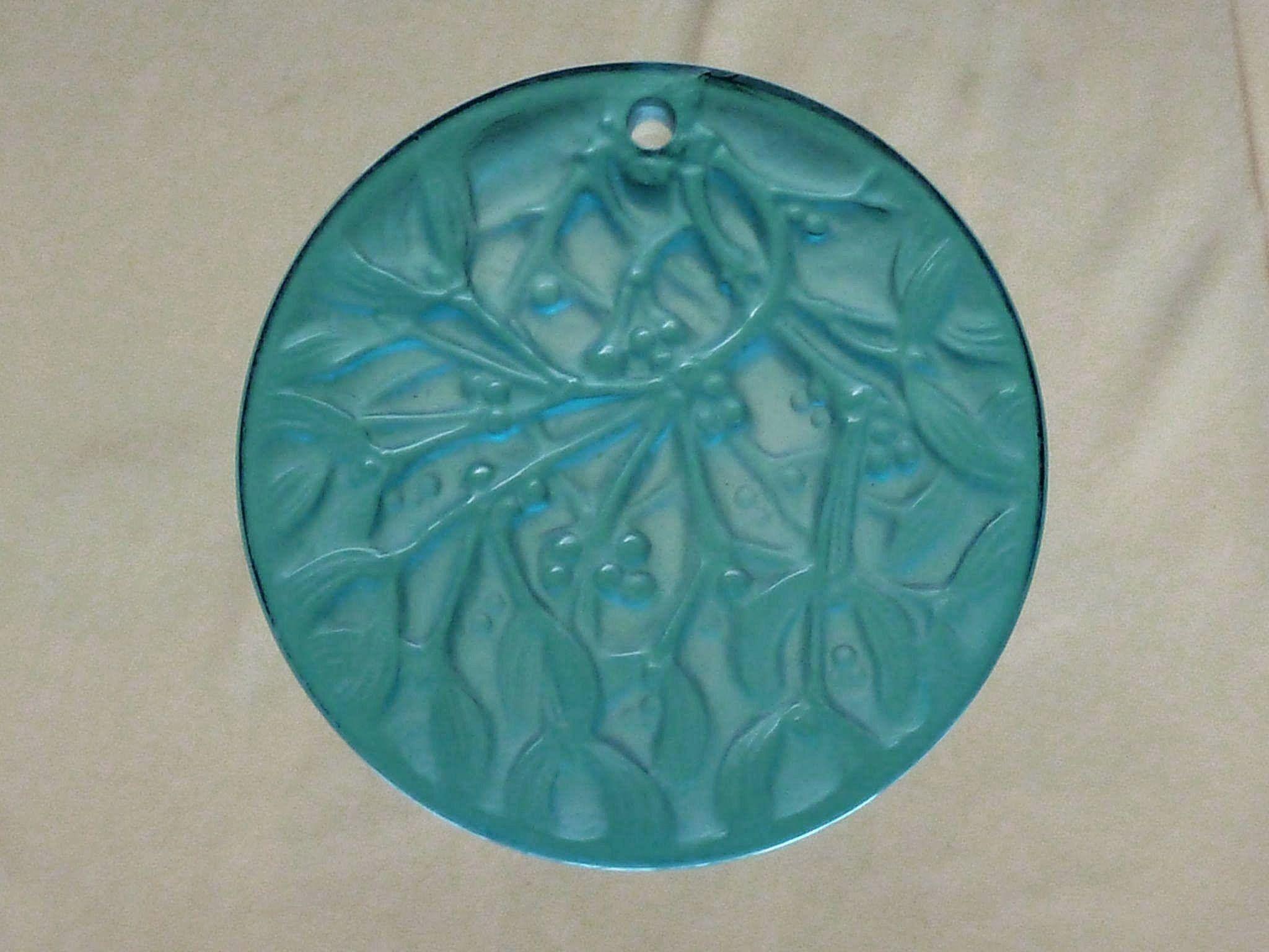 Noel 1989 Blue Glass Lalique Mistletoe Christmas Ornament