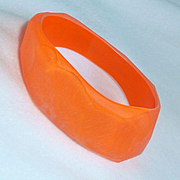 Orange Lucite Resin Washed Angled Bracelet Vintage