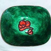 Perli Cloisonne Red Stylized Fruit Green Tray Germany