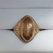 14K & 10K Yellow Gold Football Ring 1930s 40s