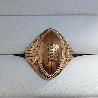 14K & 10K Yellow Gold Football Ring 1930s 40s
