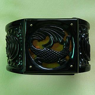 Bakelite Black Wide Deep Carved Alligator Hinge Bracelet