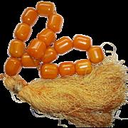 Bakelite Huge Butterscotch Marbled Prayer Beads