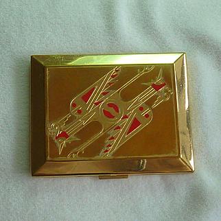 Richard Hudnut Art Deco Phoenix Bird Compact 14K Gold Plated