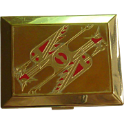 Richard Hudnut Art Deco Phoenix Bird Compact 14K Gold Plated