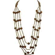 Multi Strand Amber Glass Beaded Necklace Vintage