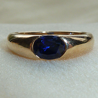 10K Yellow Gold Natural Sapphire Blue Ring Vintage