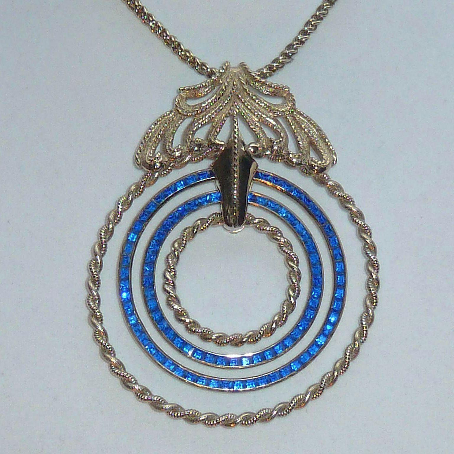 Lucien Piccard Large Blue Rhinestone Vintage Necklace