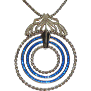 Lucien Piccard Large Blue Rhinestone Vintage Necklace