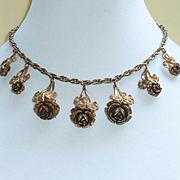 Leo Glass Brass Tone Necklace Vintage