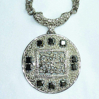 Lucien Piccard Silver Tone Hematite Medallion Runway Necklace
