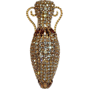 Rhinestone Egyptian Style Vessel Clip Brooch Pin Vintage
