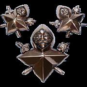 Renoir Medieval Soldier Copper Pin Earrings Vintage