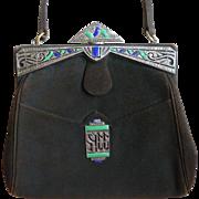 Art Deco Sterling Enamel Marcasite Suede Handbag Purse Vintage - Red Tag Sale Item