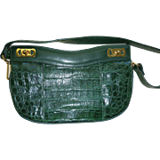 Green Crocodile Shoulder Purse Handbag Fiorenza
