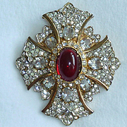 KJL Rhinestone Maltese Cross Vintage Pin Pendant