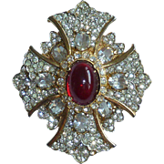 KJL Rhinestone Maltese Cross Vintage