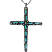 Zuni Needle Point Turquoise Sterling Cross