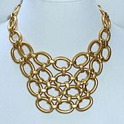 Large Bib Necklace Gold Tone