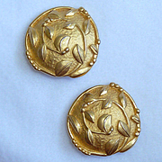 Vintage Karl Lagerfeld Leaf and Vine Gold Tone Earrings