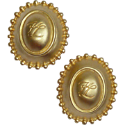Vintage Karl Lagerfeld Gold Tone Signature Signed Earrings