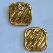 Vintage Karl Lagerfeld Square Bronze Tone Earrings