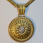 Torrini 18K Gold Diamond Sunburst Pendant Necklace Italy