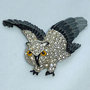 Rhinestone Enamel Flying Swivel Head Owl Pin Brooch Vintage