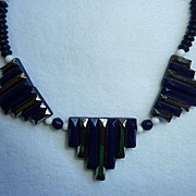 Art Deco Deep Blue Silver metallic Glass Necklace Vintage German made