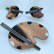 Rebajes Copper Enamel Pallet Brush Pin Earrings Vintage