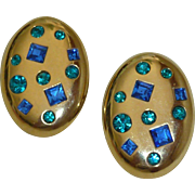 Yves St. Laurent Gold Tone Earrings Blue Rhinestones Runway