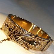 17.6K, 18K Rose Gold Taille d'epargne Black Enamel Victorian Buckle Bracelet